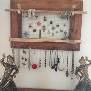 Create a wire-framed ornament to hang jewelry.